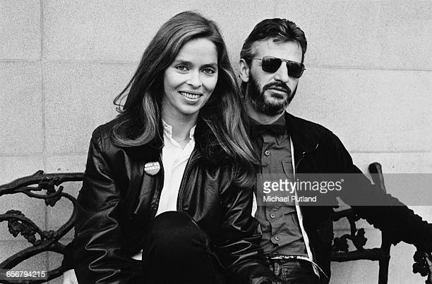English drummer Ringo Starr formerly of the Beatles with his wife American actress Barbara Bach London 1981