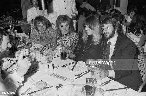 English drummer Ringo Starr of The Beatles pictured on right with his wife Maureen Starkey Scottish singer Lulu and her husband Maurice Gibb of the...