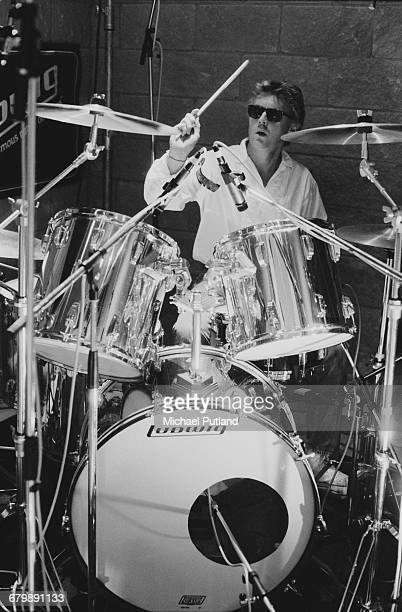 English drummer Roger Taylor of Queen recording for the Armenian earthquake appeal 'Rock Aid Armenia' at the Metropolis Studios in Chiswick London...