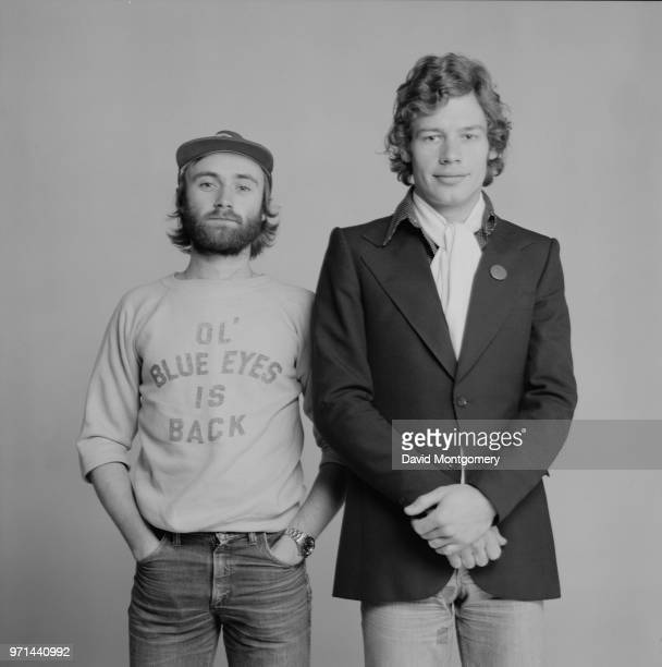 English drummer singersongwriter record producer and actor Phil Collins and English drummer percussionist songwriter and producer Bill Bruford of...