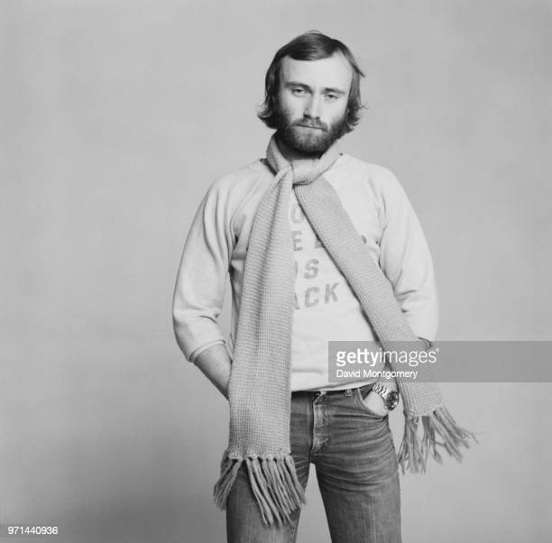 English drummer singersongwriter record producer and actor Phil Collins of rock band Genesis UK January 1976