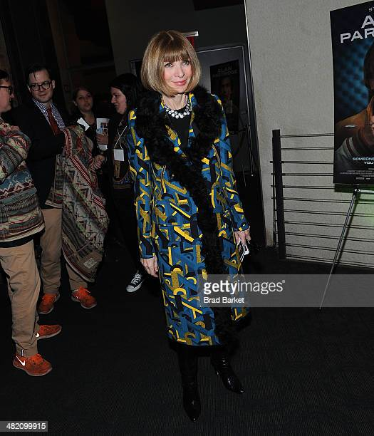 English editorinchief of American Vogue Anna Wintour attends the 'Alan Partridge' New York screening at Landmark's Sunshine Cinema on April 2 2014 in...