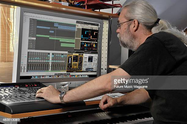 English electronic musician and composer Ian Boddy in his studio Middlesbrough September 25 2009