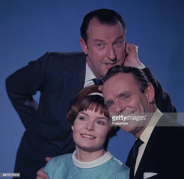 English entertainer Dickie Henderson pictured on bottom right with actor Lionel Murton at top and actress Isla Blair in a scene from the television...