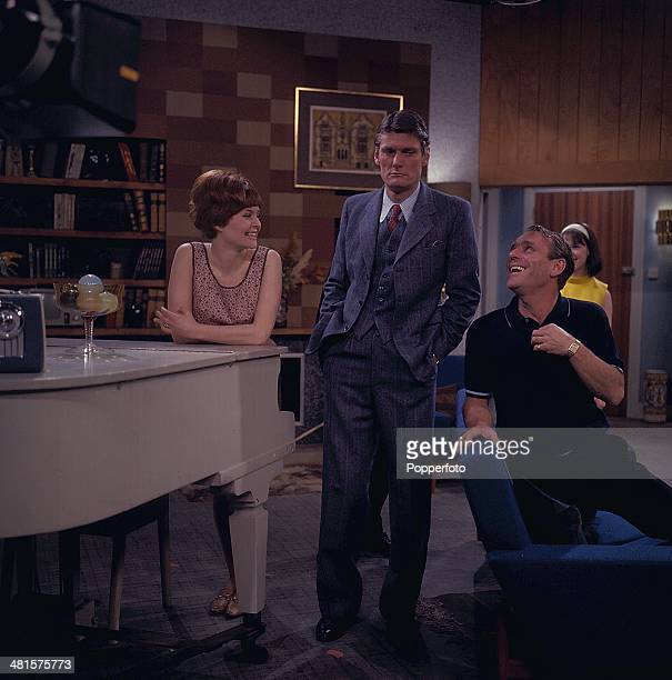 English entertainer Dickie Henderson pictured on right with Pete Murray in centre and actress Isla Blair in a scene from the television sitcom 'The...