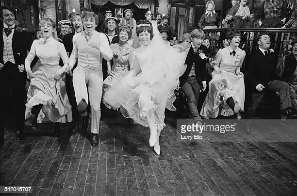 English entertainer Tommy Steele and English actress Julia Foster during the wedding scene from George Sidney's musical film 'Half a Sixpence', 6th...