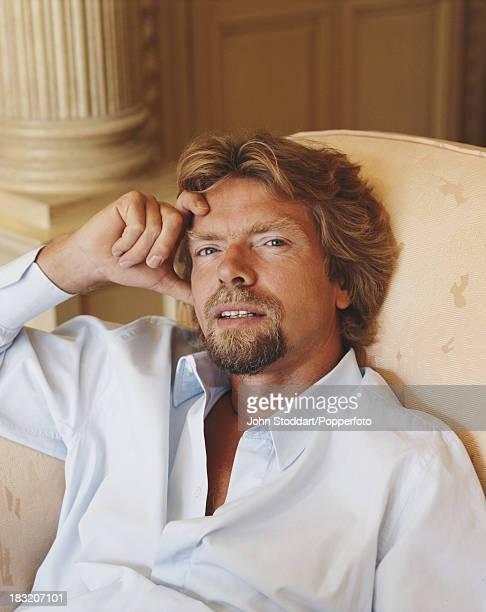 English entrepreneur Richard Branson posed in 1989
