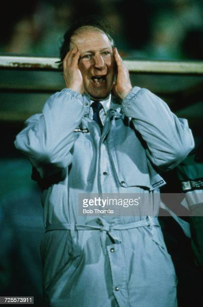 English ex footballer and manager of the Republic of Ireland team Jack Charlton vents his feelings to his players from the touchline during the World...