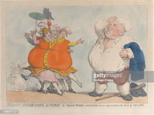 English Exhibitions in Paris or French People Astonished at Our Improvement in the Breed of Fat Cattle 1812 Artist Thomas Rowlandson