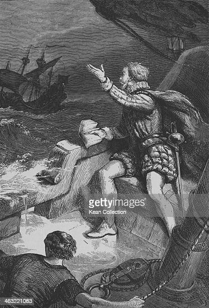 English explorer and adventurer Sir Humphrey Gilbert shortly before his death on the sinking frigate 'HMS Squirrel' 9th September 1583 Gilbert's...