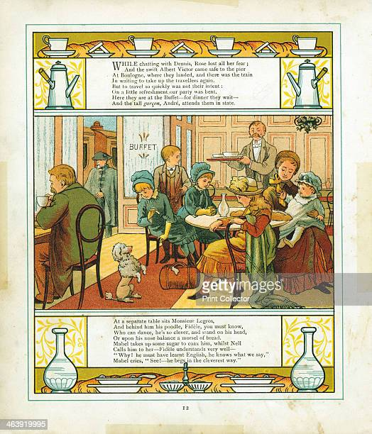 English family taking a meal in the station buffet at Boulogne France 1886 A poodle begs the children for food