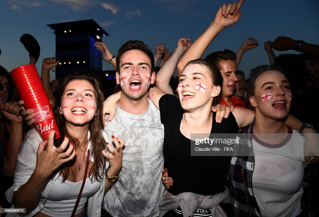 English fans react during the 2018 FIFA World Cup Russia Semi Final match between England and Croatia at Luzhniki Stadium on July 11, 2018 in Moscow, Russia.