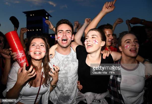 English fans react during the 2018 FIFA World Cup Russia Semi Final match between England and Croatia at Luzhniki Stadium on July 11 2018 in Moscow...