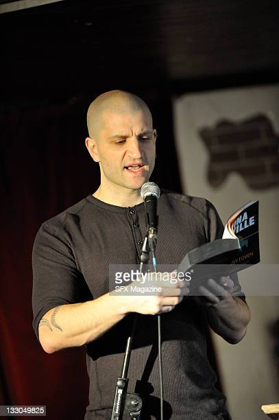 English fantasy author China Mieville reading on stage at the SFX Weekender on February 5 2011