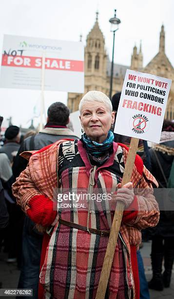English Fashion designer and activist Vivienne Westwood attends antifracking rally outside the Houses of Parliament in central London on January 26...