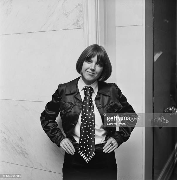 English fashion designer and fashion icon Mary Quant at the launch of her new range of neckwear, her first menswear collection, at the Savoy Hotel,...