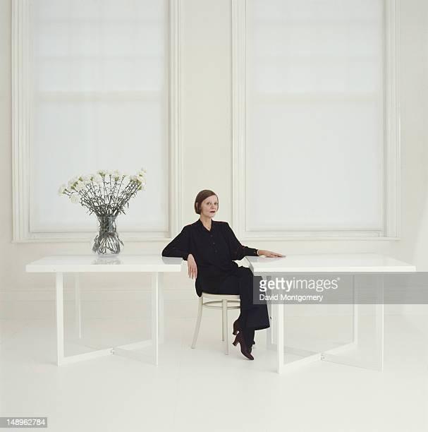 English fashion designer Jean Muir , 1985.