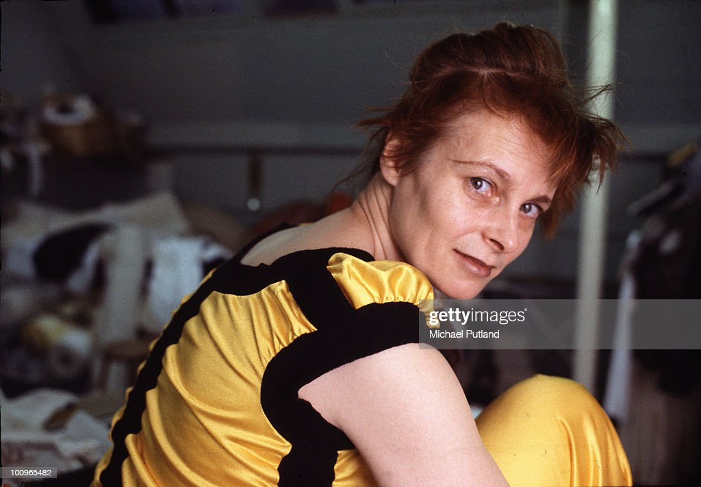 English fashion designer Vivienne Westwood at her studio, London, circa 1982.