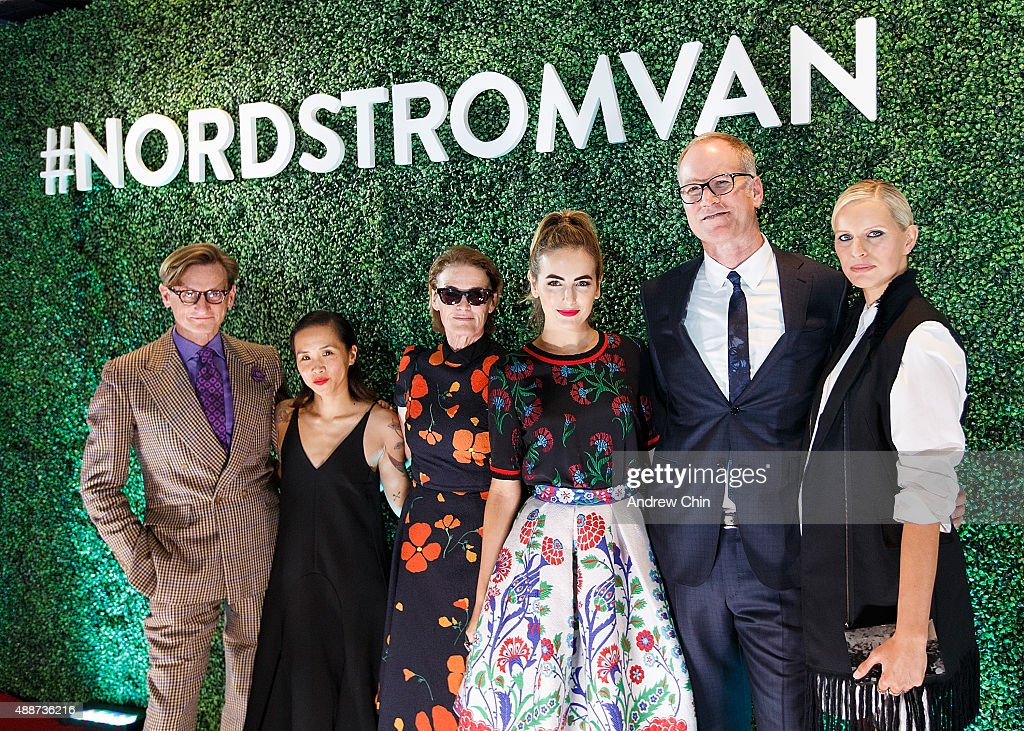 English Fashion Journalist Hamish Bowles, Director of Creative Projects of Nordstrom Olivia Kim, West Coast Director of Vogue and Teen Vogue Lisa Love, American Actress Camilla Belle, President of Merchandising Pete Nordstrom and Model Karolina Kurkova attend Nordstrom Vancouver Store Opening Gala Red Carpet at Vancouver Art Gallery on September 16, 2015 in Vancouver, Canada.
