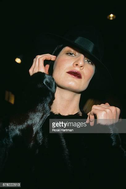 English fashion model Erin O'Connor at a fashion show for the Donna Karan Fall Collection 2002 USA