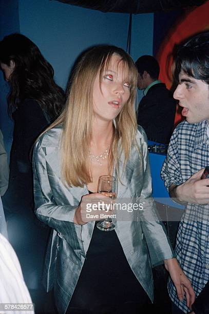 English fashion model Kate Moss at the launch party for her autobiography 'Kate: The Kate Moss Book' in London, 21st April 1995.