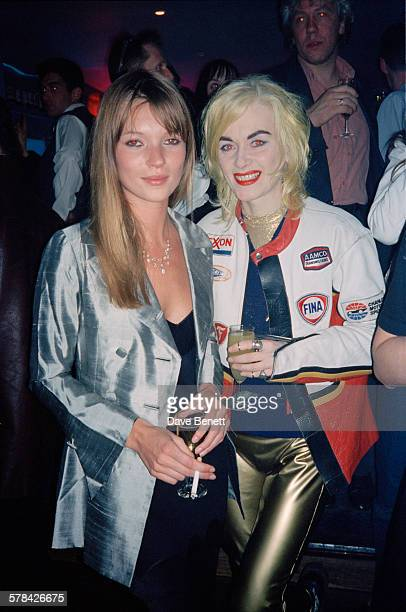 English fashion model Kate Moss with fashion designer Pam Hogg at the launch party for Kate's autobiography 'Kate The Kate Moss Book' in London 21st...
