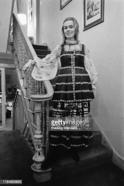 English fashion model Miranda Quarry stands at the bottom of a staircase in London on 20th November 1970 Miranda Quarry is currently married to the...