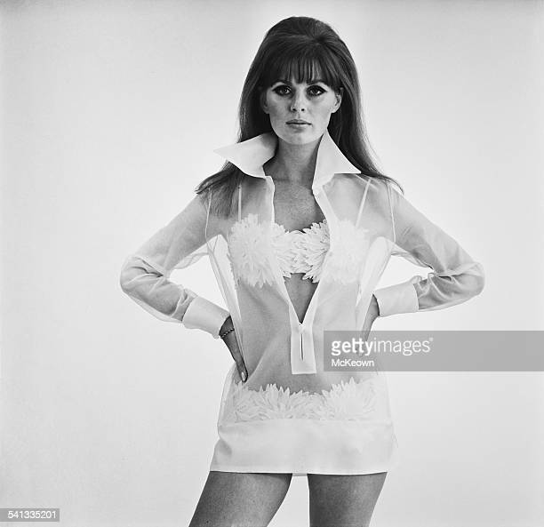 English fashion model Paulene Stone shows a bikini and beach dress by Christian Dior 13th March 1967