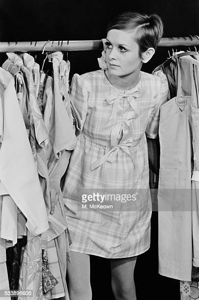 English fashion model Twiggy with some of the items from her own 'Twiggy Dresses' line of clothes 17th February 1967