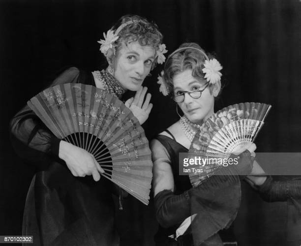 English female impersonators Patrick Fyffe aka Dame Hilda Bracket and George Logan aka Dr Evadne Hinge performing at the Mayfair Theatre in London as...