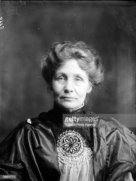 English feminist suffrage leader Emmeline Pankhurst who led the movement to win the vote for women in Great Britain