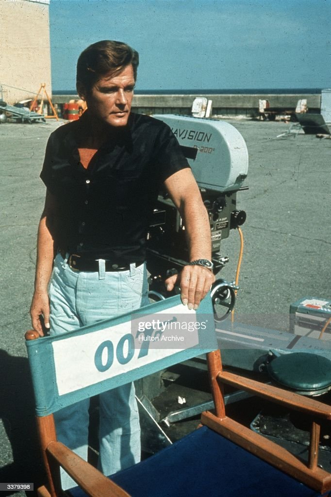English film and television actor Roger Moore on location for the filming of the James Bond 007 movie 'Live and Let Die'.