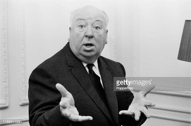 English film director Alfred Hitchcock gestures with his hands towards the camera in November 1964 Alfred Hitchcock is currently visiting England to...