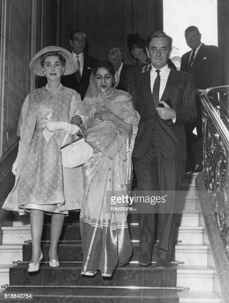 English film director David Lean marries Leila Matkar in Paris, France, 4th July 1960. On the left is Barbara Hutton. Lean met Matkar while working...