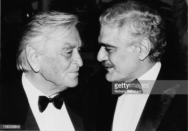 English film director David Lean with Egyptian actor Omar Sharif , circa 1987. Possibly attending Tribute Gala in honour of English actor Alec...