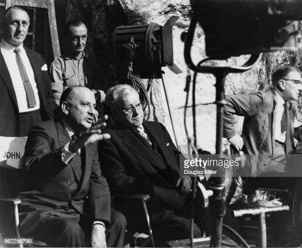 English film producer Michael Balcon gives Herbert Morrison President of the British Board of Film Censors a tour of Elstree Studios UK 18th July...
