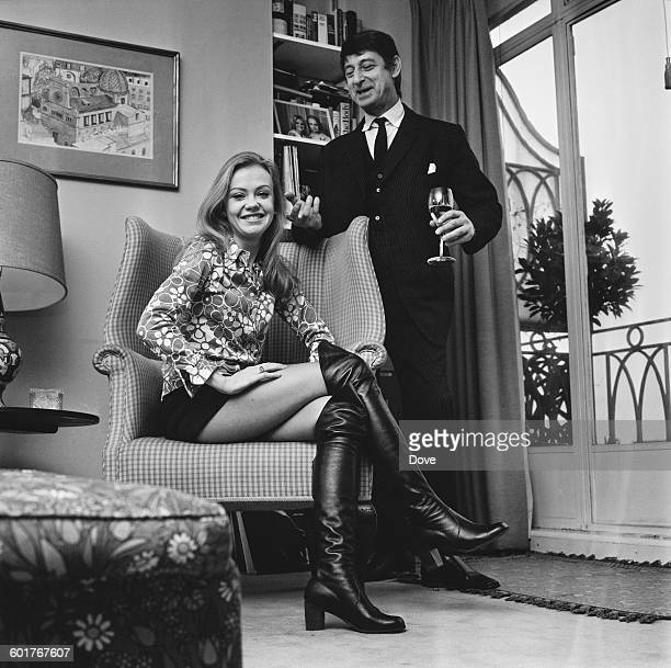 English filmmaker Roy Boulting with actress Hayley Mills at home UK 30th January 1970 The couple were married in 1971