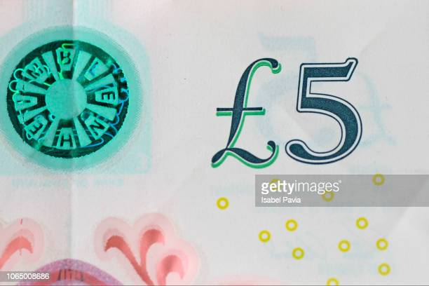english five pounds bill - british pound note stock pictures, royalty-free photos & images