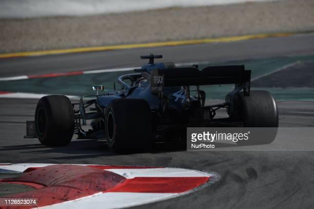 English five time World Champions Lewis Hamilton of German team MercedesAMG Petronas Motosport driving his singleseater Mercedes W10 during Barcelona...