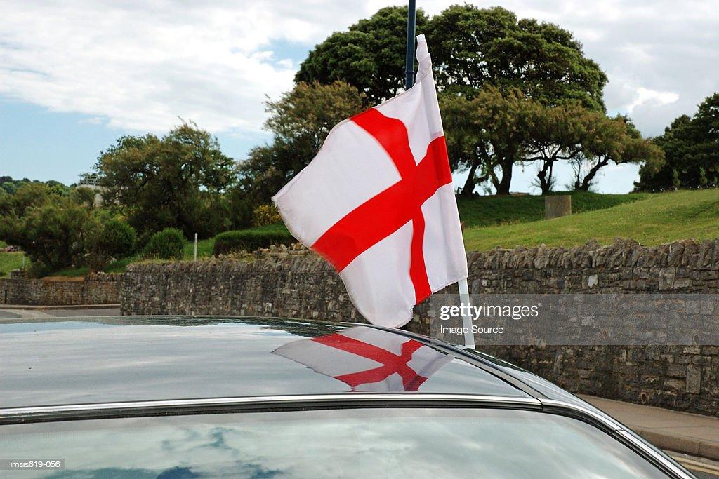 English flag on automobile : Stock Photo