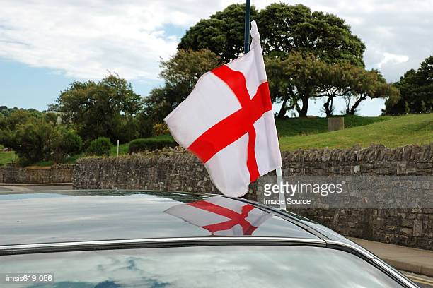 english flag on automobile - england flag stock photos and pictures