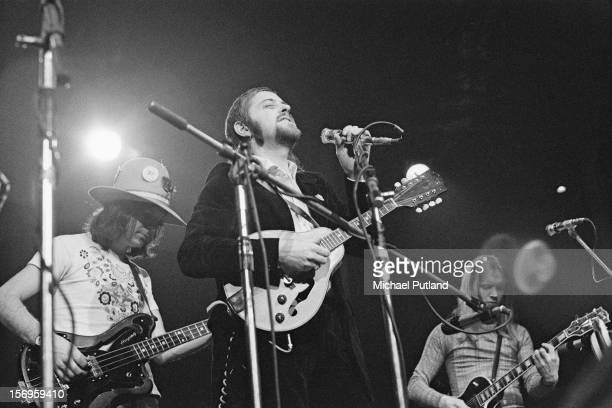 English folk rock band Fairport Convention performing at the Roundhouse during the Camden Festival, London, 2nd May 1972. Bassist Dave Pegg on left,...
