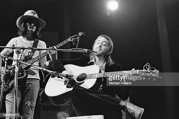 English folk rock band Fairport Convention performing at the Roundhouse during the Camden Festival, London, 2nd May 1972. Left to right: Bassist Dave...