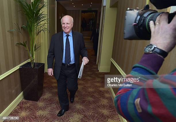 English Football Association Chairman Greg Dyke arrives at the International Football Association Board AGM at the Culloden Hotel on February 28 2015...