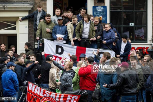 English football fans are gathered at the Amsterdam redlight district prior to the friendly football match between the Netherlands and England in...