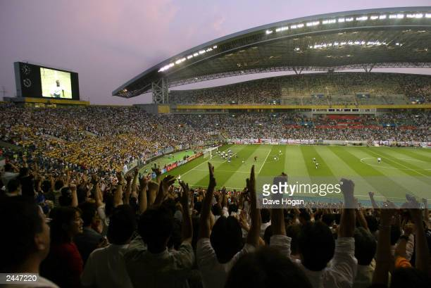 English football fans at the England Vs Sweden game at the 2OO2 World Cup on June 2 2002 in Saitama Japan