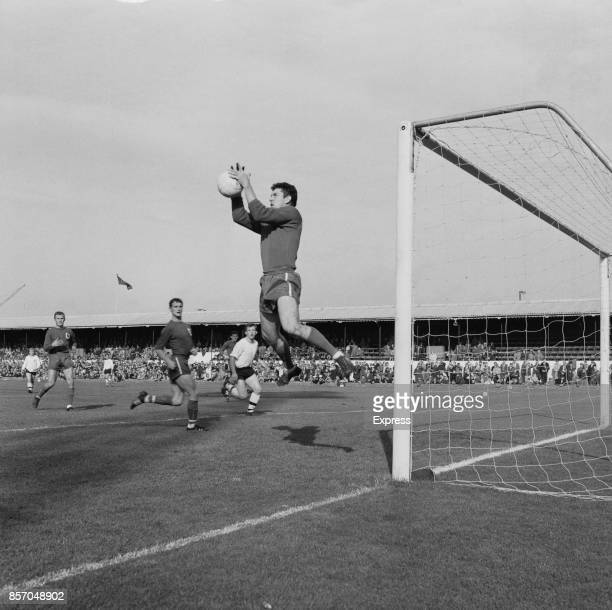 English football goalkeeper Ken Hancock of Ipswich Town FC makes a save against Bolton Wanderers FC UK 20th September 1965