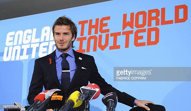 English football icon David Beckham looks on as he arrives to a press conference on December 1 2010 ahead of England's 2018 World Cup bid final...