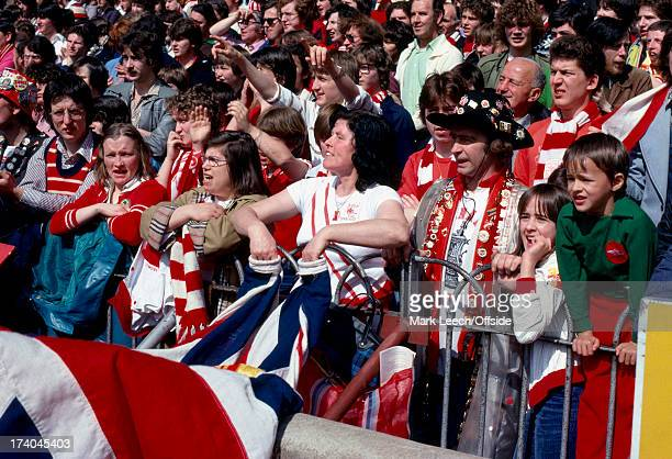 English Football League Division One Arsenal v Chelsea Arsenal fans wave their flags from the from of the North Bank terrace