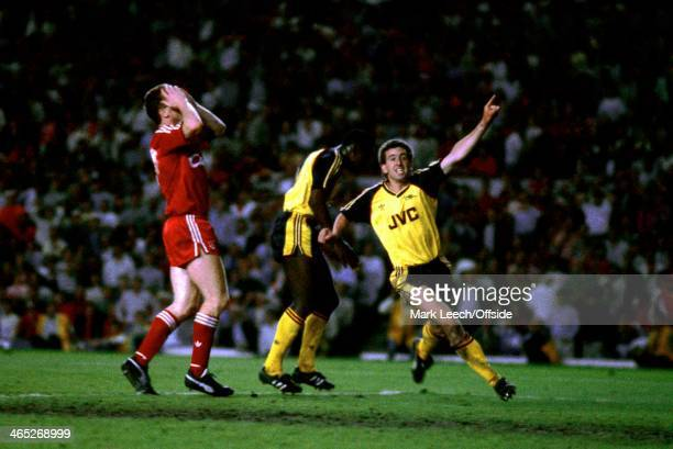 English Football League Division One Arsenal v Liverpool Nigel Winterburn turns away in celebration at Michael Thomas' winning goal